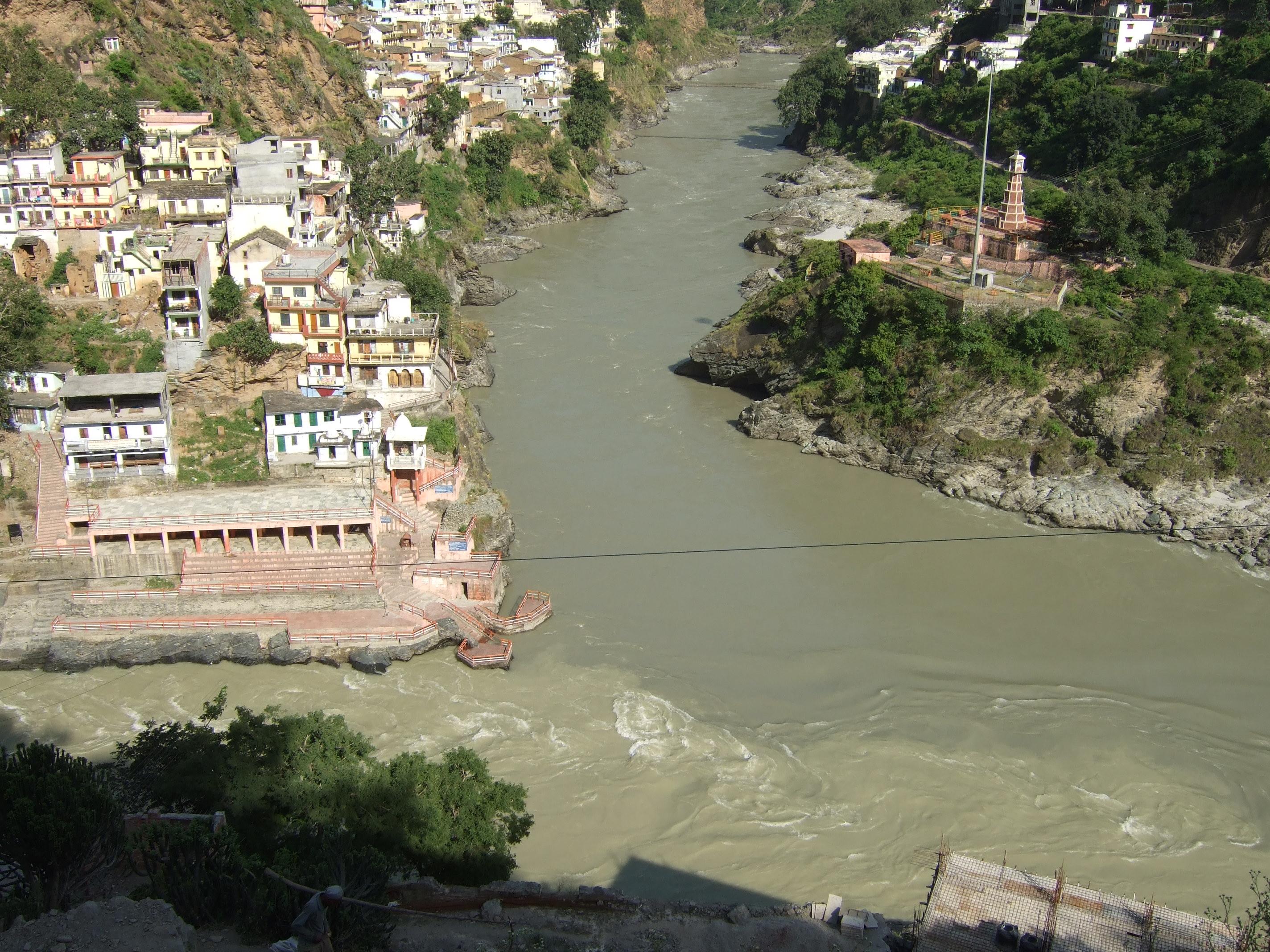 ガンジス河源流の合流地点